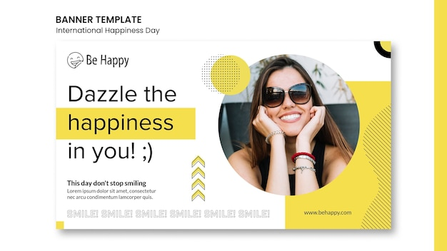 Modèle de bannière horizontale pour la journée internationale du bonheur