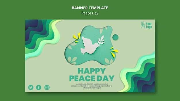 Modèle de bannière horizontale pour la journée internationale de la paix