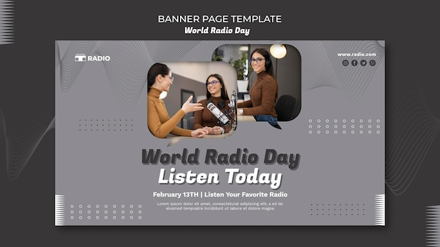 Modèle de bannière horizontale pour la journée mondiale de la radio avec un diffuseur féminin