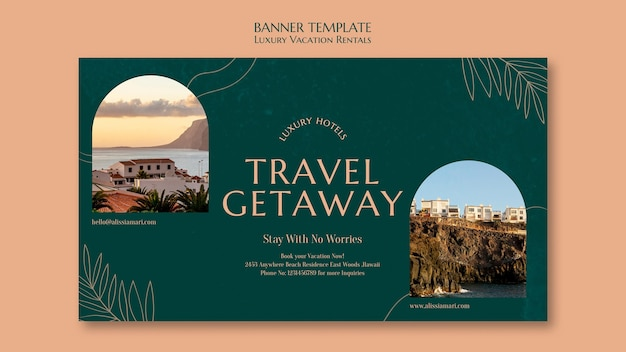 Modèle de bannière horizontale pour les locations de vacances de luxe