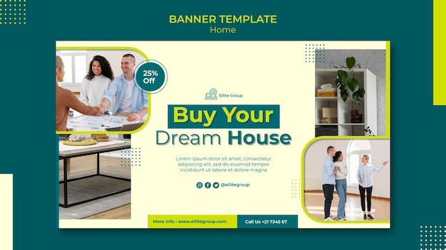 Modèle de bannière horizontale pour nouvelle maison familiale