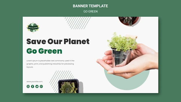Modèle de bannière horizontale pour passer au vert et à l'environnement