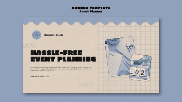 Modèle de bannière horizontale pour planificateur d'événements