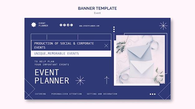 Modèle de bannière horizontale pour la planification d'événements sociaux et d'entreprise