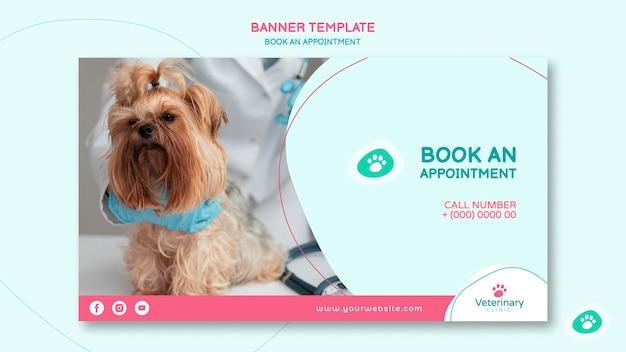 Modèle de bannière horizontale pour rendez-vous vétérinaire