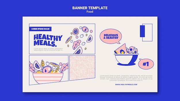Modèle de bannière horizontale pour des repas sains