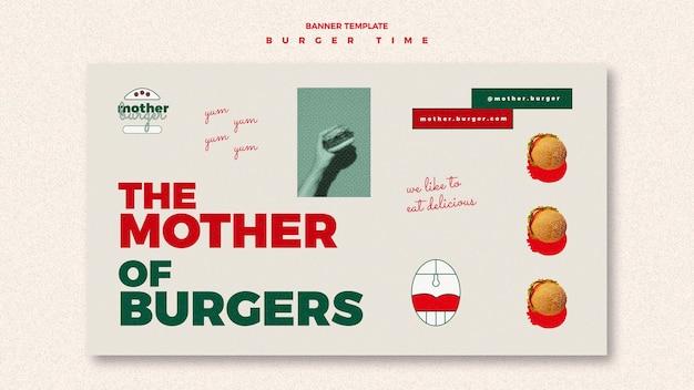 Modèle de bannière horizontale pour restaurant de hamburgers