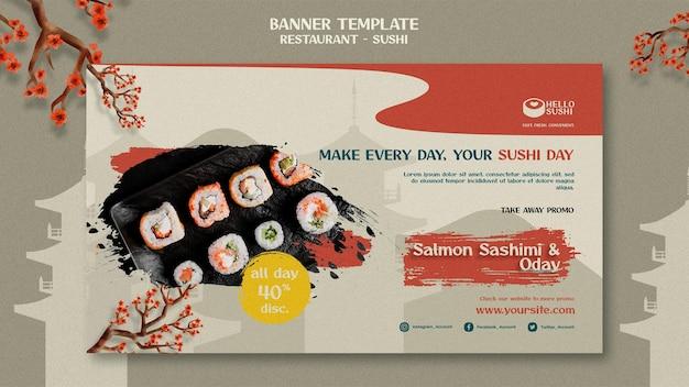 Modèle de bannière horizontale pour restaurant de sushi