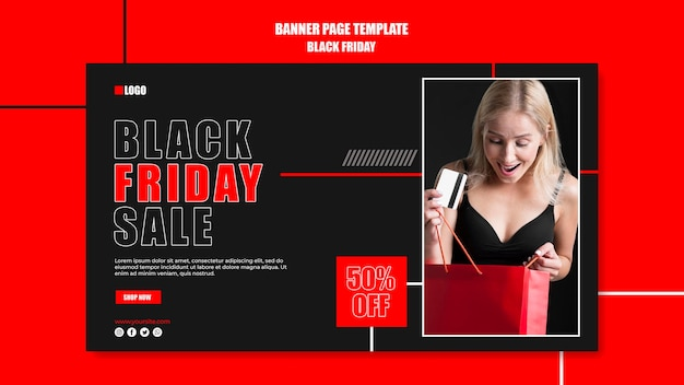 Modèle de bannière horizontale pour le shopping du vendredi noir
