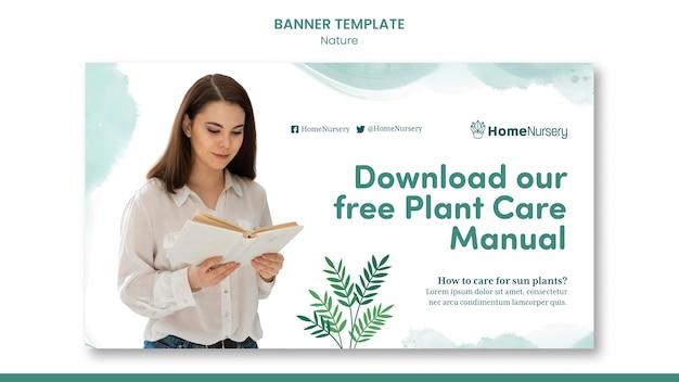 Modèle de bannière horizontale pour les soins des plantes d'intérieur avec une femme