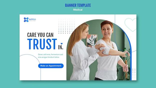 Modèle de bannière horizontale pour les soins de santé