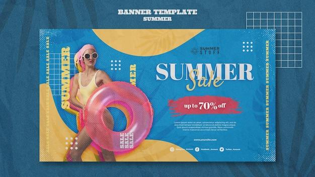 Modèle de bannière horizontale pour les soldes d'été avec femme