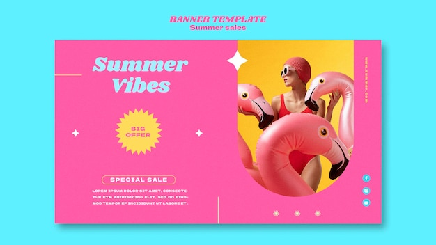 Modèle de bannière horizontale pour les soldes d'été