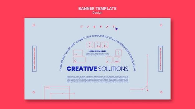 Modèle de bannière horizontale pour des solutions commerciales créatives