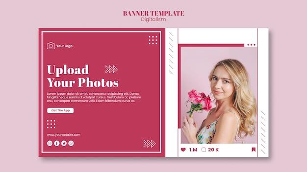 Modèle de bannière horizontale pour le téléchargement de photos sur les réseaux sociaux
