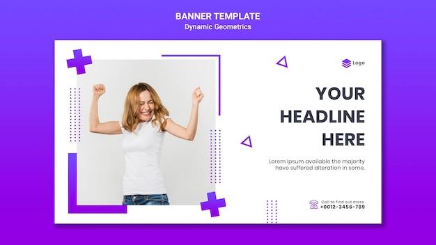 Modèle de bannière horizontale pour thème gratuit avec géométrie dynamique