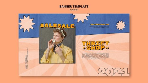 Modèle de bannière horizontale pour la vente de mode friperie