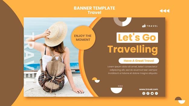 Modèle de bannière horizontale pour voyager avec une femme