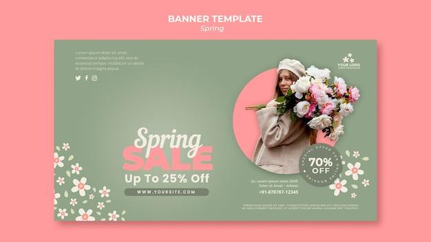 Modèle de bannière horizontale de printemps