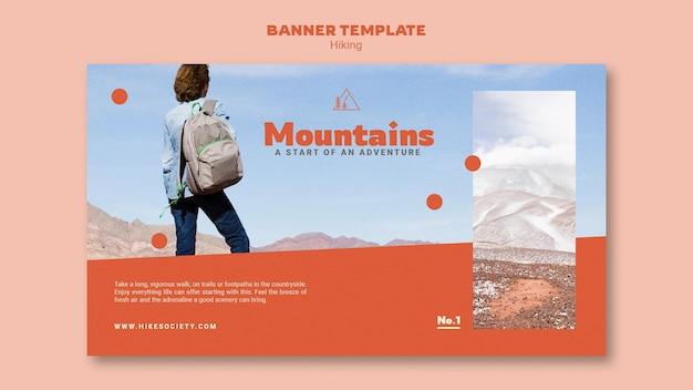 Modèle de bannière horizontale de randonnée