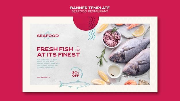 Modèle de bannière horizontale de restaurant de fruits de mer