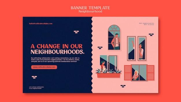 Modèle de bannière horizontale de séminaire de quartier