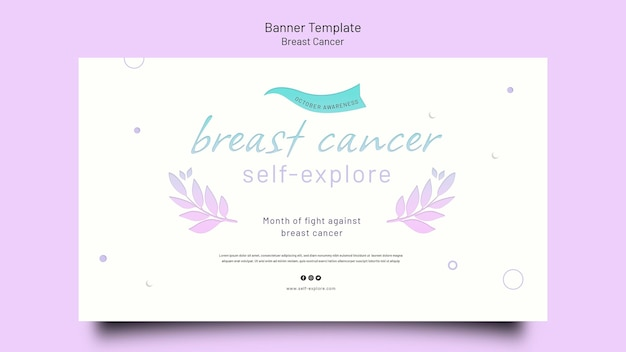 Modèle de bannière horizontale de sensibilisation au cancer du sein