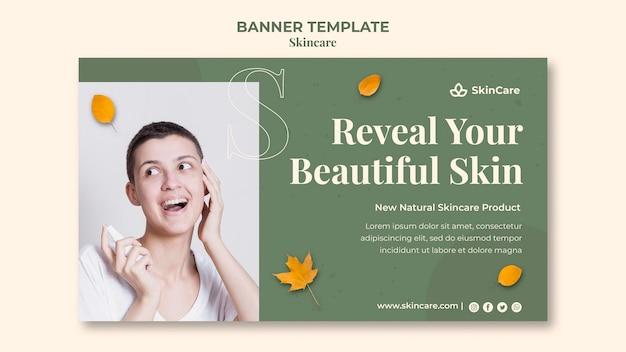 Modèle de bannière horizontale de soins de la peau