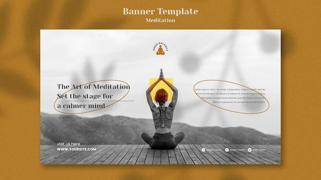 Modèle de bannière horizontale de style de vie de méditation