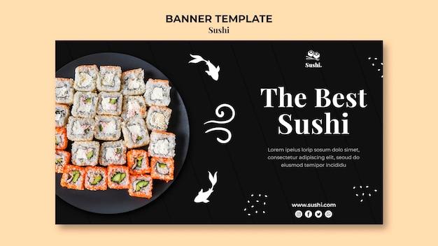 Modèle de bannière horizontale de sushi avec photo