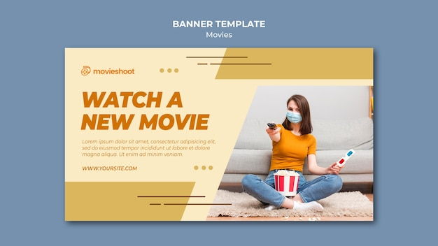 Modèle de bannière horizontale de temps de film avec photo