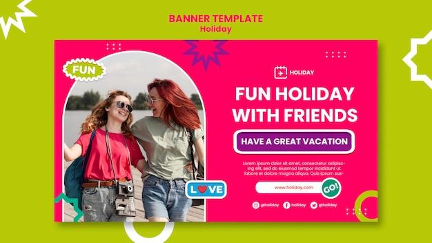Modèle de bannière horizontale de vacances avec des amis