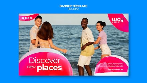 Modèle de bannière horizontale de vacances d'amis