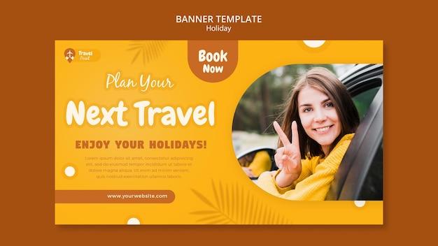 Modèle de bannière horizontale de vacances