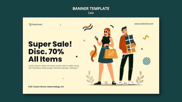Modèle de bannière horizontale à vendre avec des personnes et des sacs à provisions