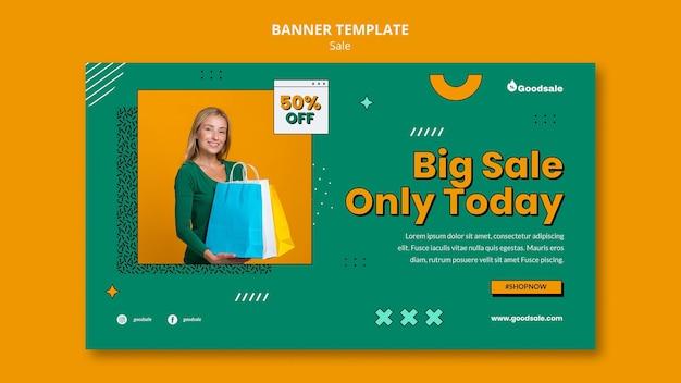Modèle de bannière horizontale de vente en ligne