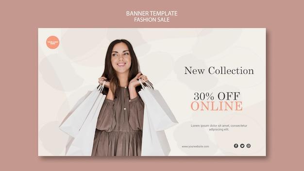 Modèle de bannière horizontale de vente de mode