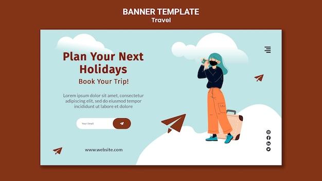 Modèle de bannière horizontale de voyage