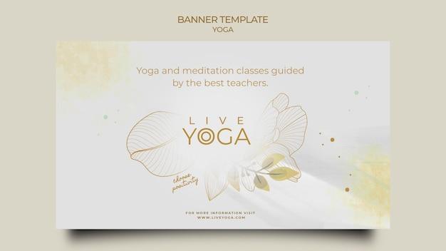 Modèle de bannière horizontale de yoga en direct