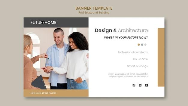 Modèle de bannière immobilière avec photo