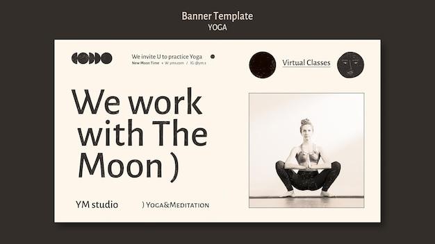 Modèle de bannière incolore de cours de yoga