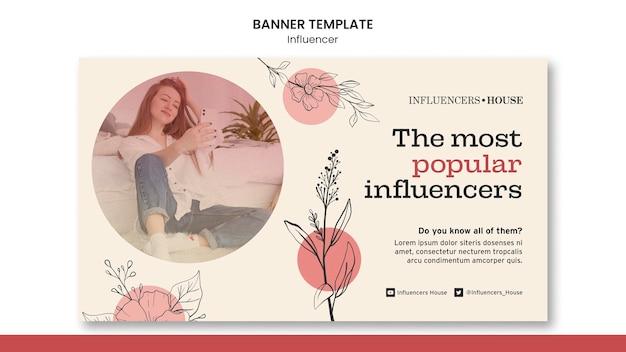 Modèle de bannière d'influenceur avec photo