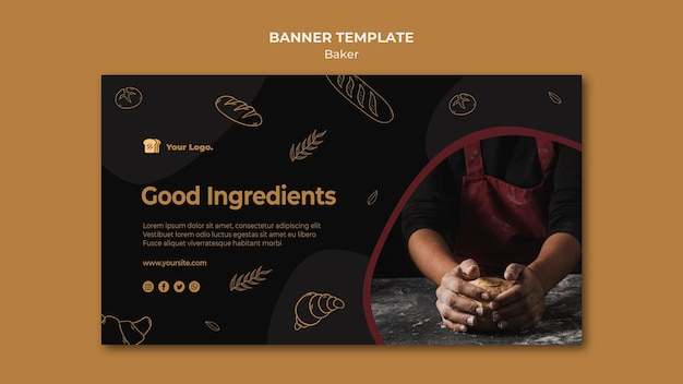 Modèle de bannière d'ingrédients gastronomiques baker