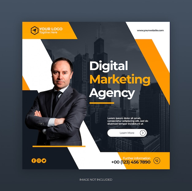 Modèle de bannière instagram de marketing créatif numérique