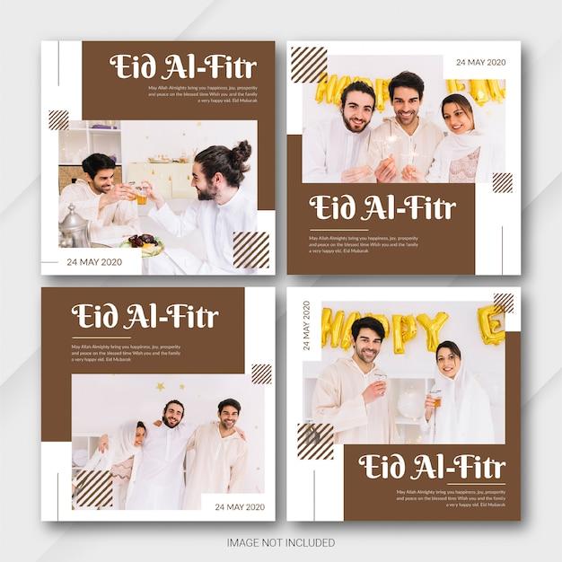 Modèle de bannière instagram post bundle eid al fitr mubarak