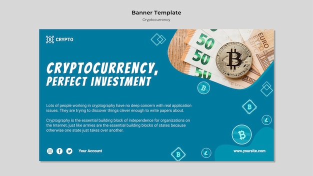 Modèle de bannière d'investissement en crypto-monnaie