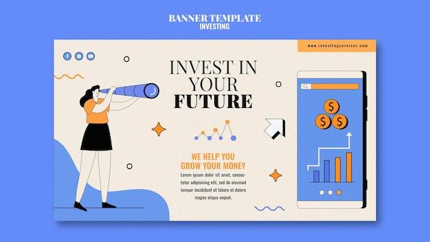 Modèle de bannière d'investissement illustré