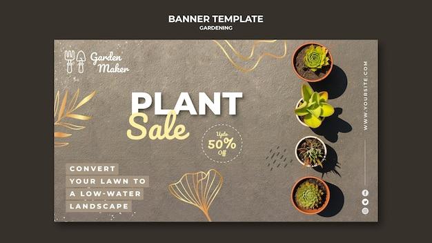 Modèle de bannière de jardinage avec photo
