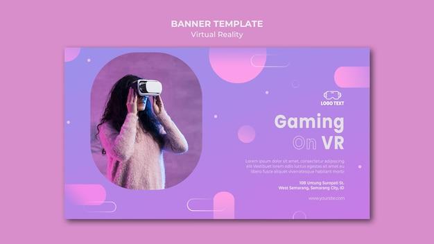 Modèle de bannière de jeu sur la réalité virtuelle