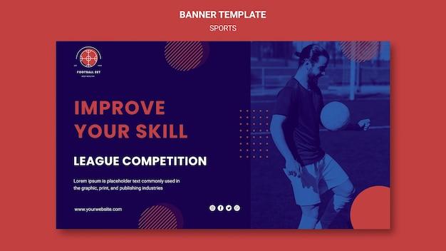 Modèle de bannière de joueur de football avec photo
